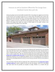 Features As well as Solutions Offered By The Garage Door Rockland County New york city.doc