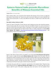 Natures Natural India presents Marvellous Benefits of Mimosa Essential Oils.pdf