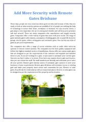 Add More Security with Remote Gates Brisbane.docx