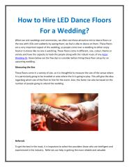 How to hire LED dance floors for a wedding.pdf